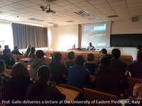 Prof. Gallo deliveries a talk at the University of Eastern Piedmont in Italy